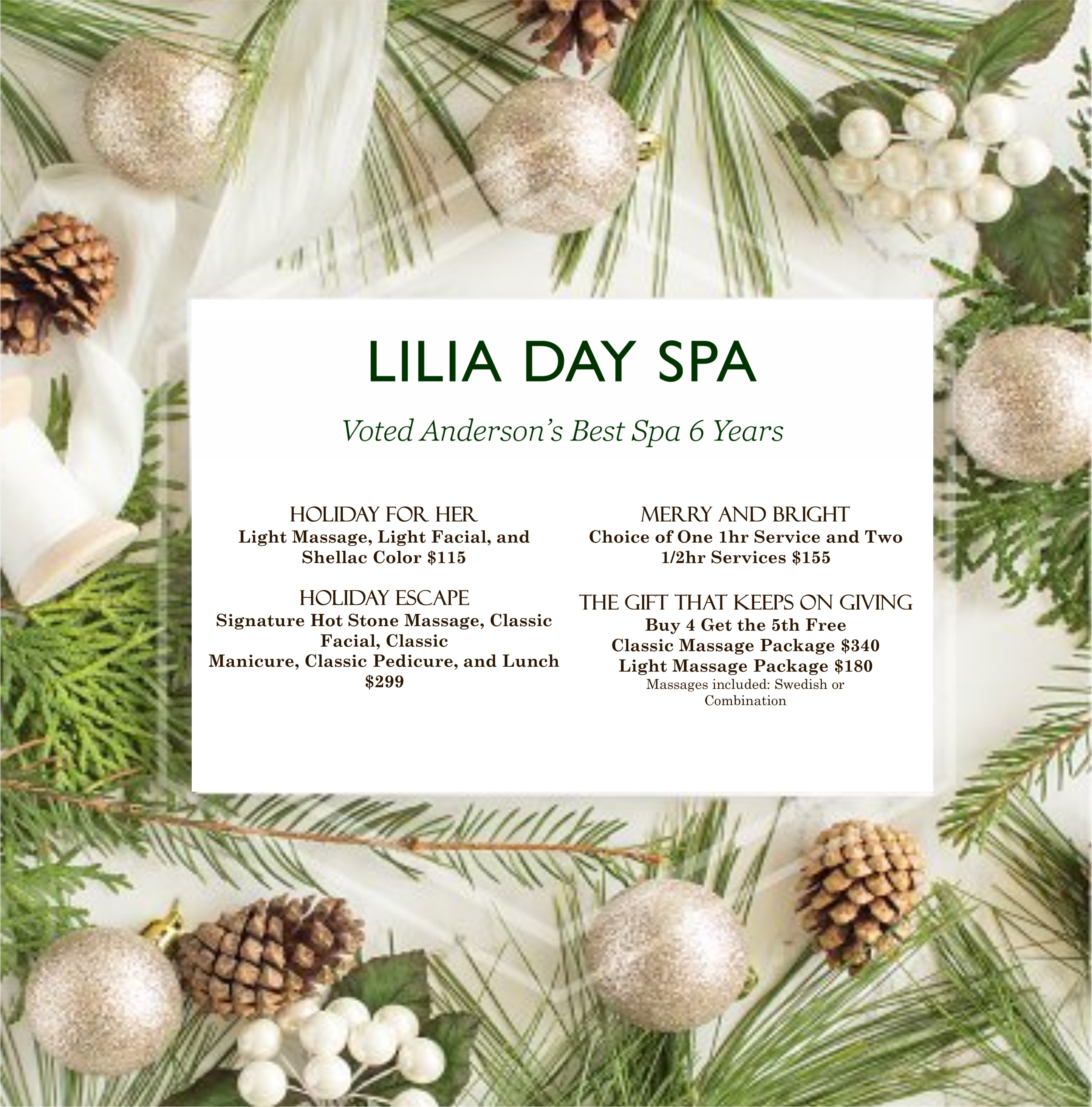 Lilia Day Spa in Anderson SC   Dayspas Anderson SC   personal ...